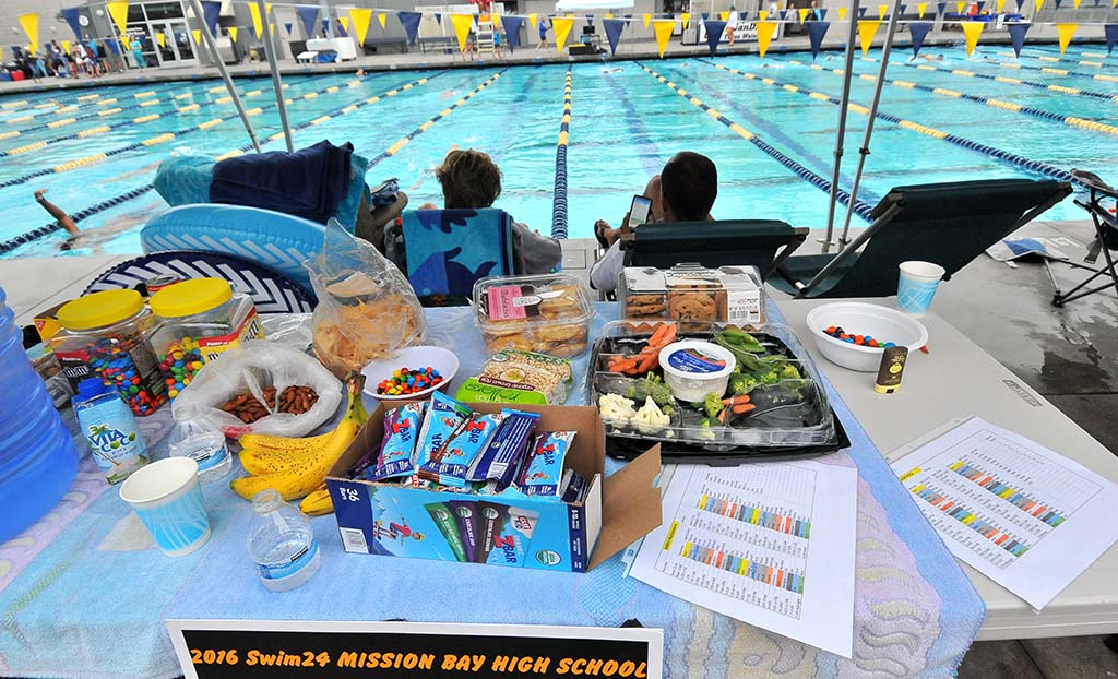 Snacks helped field Mission Bay High School swimmers. A taco bar (suggested donation $5) also served meals.
