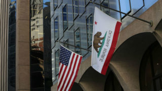 U.S. and California flags
