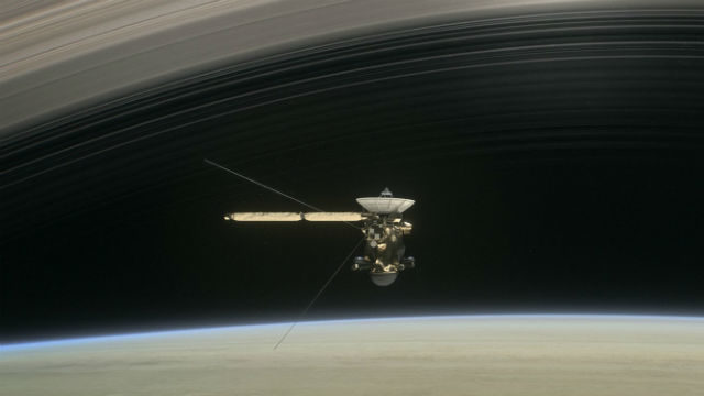 The Cassini spacecraft between Saturn's rings and atmosphere