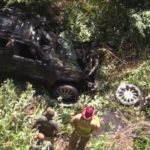 Crashed vehicle near Lake Hodges