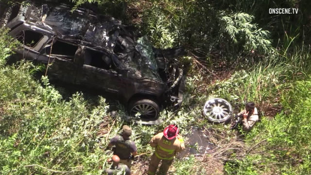 Crashed vehicle near Lake Hodges