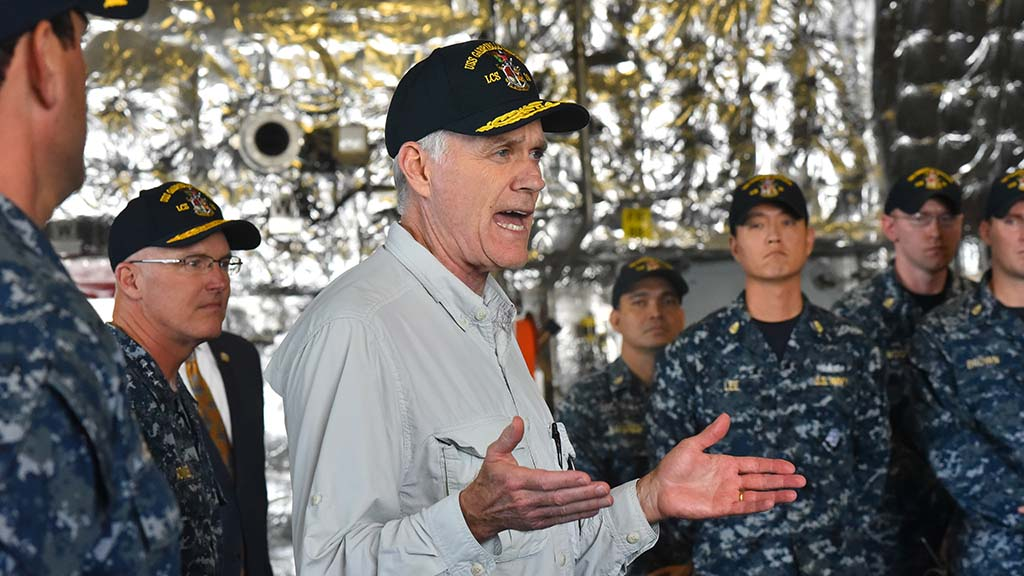 Secretary of the Navy Richard Spencer speaks to sailors aboard the USS Gabrielle Giffords.