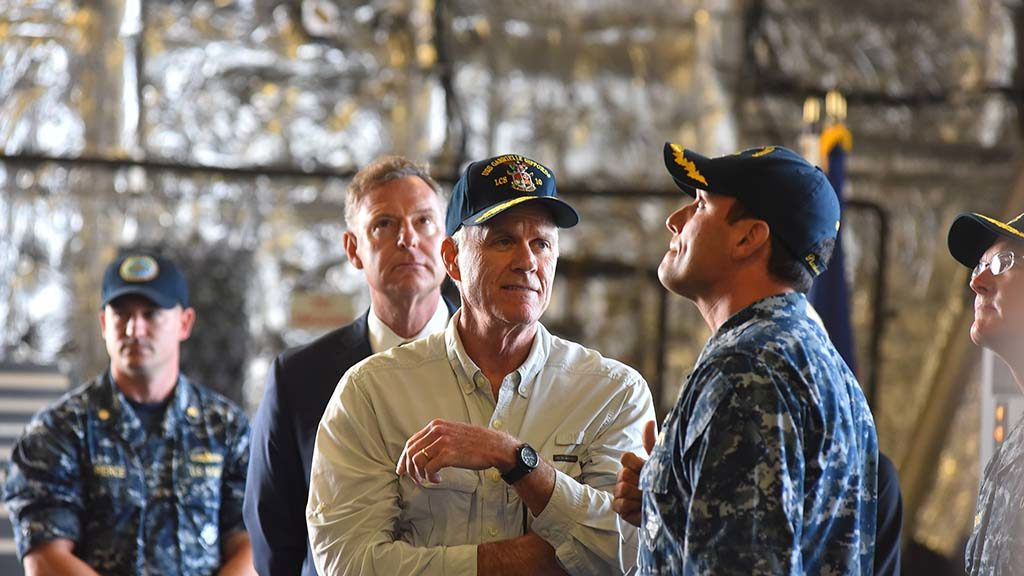 USS Gabrielle Giffords Cmdr. Kevin P. Meehan (second from right) gives Navy Secretary Richard Spencer and Congressmen Scott Peters a tour of the littoral combat ship.