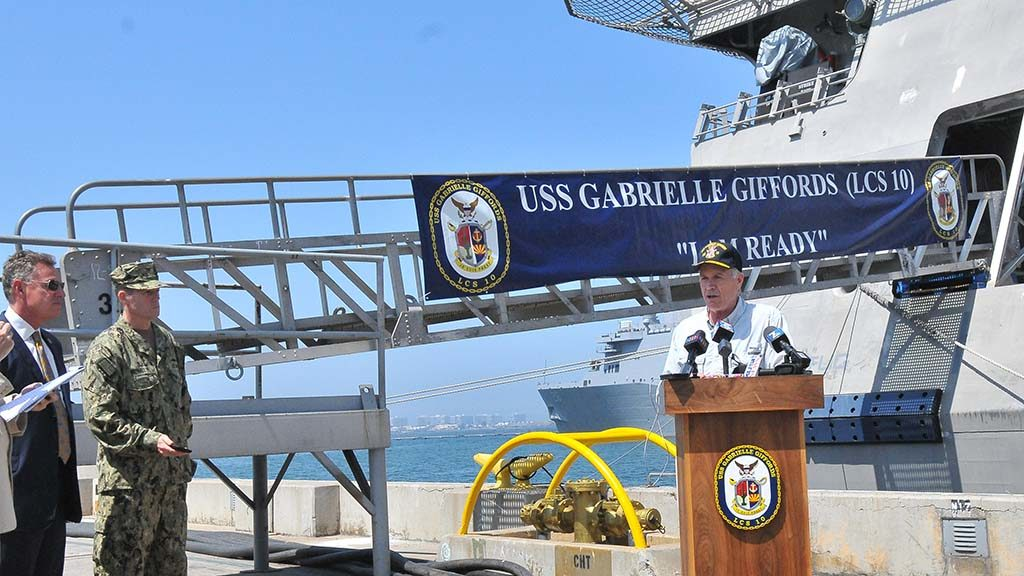 "Navy Secretary Richard Spencer speaks to the media follow an ""all hands"" address and tour of the USS Gabrielle Giffords at Naval Base San Diego."