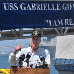 "Secretary Richard Spencer speaks to the media follow an ""all hands"" address and tour of the USS Gabrielle Giffords at Naval Base San Diego."