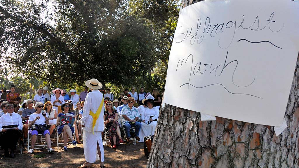 About 80 people attended the annual suffragette march in Balboa Park.