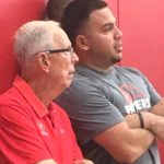 Charlie Mercado Jr. stands with former San Diego State coach Steve Fisher at a 2916 event.