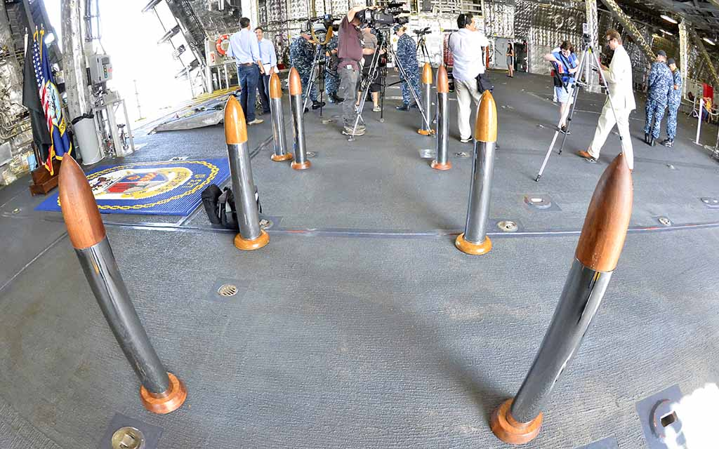 Lightweight cones in the shape of 5-inch-gun shells marked path into USS Giffords' mission bay.