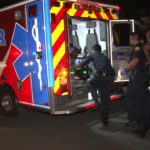 Burglary suspect loaded into ambulance