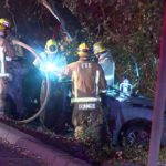 Escondido firefighters work to free driver from wrecked car