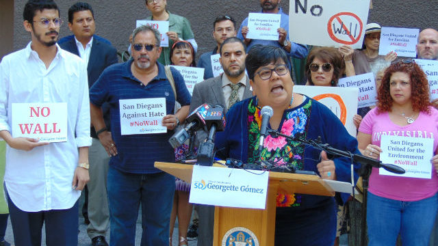 Georgette Gomez speaks at press conference
