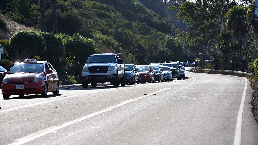 Traffic backs up on Camino Del Rio South