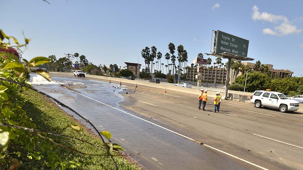 All lanes of eastbound Interstate 8 were closed as water from a main break.