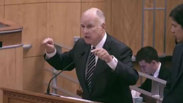 Jerry Brown speaks to the Legislature