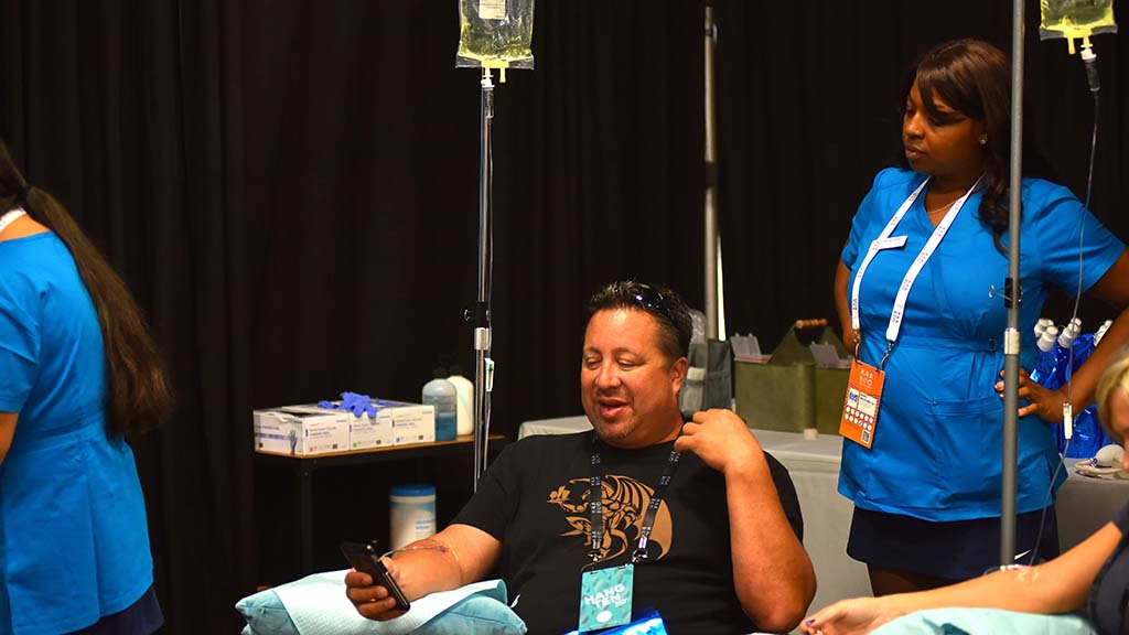 Visitors get IVs with vitamins added Rapid Recovery at KAABOO Del Mar.