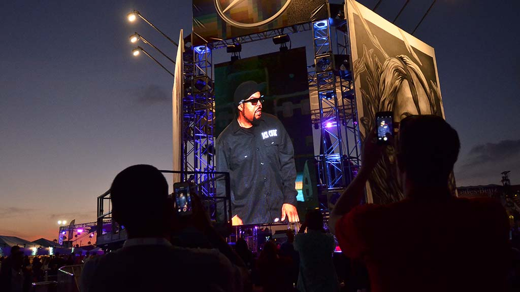 Singer Ice Cube's concert is displayed on a large screen at KAABOO Del Mar.