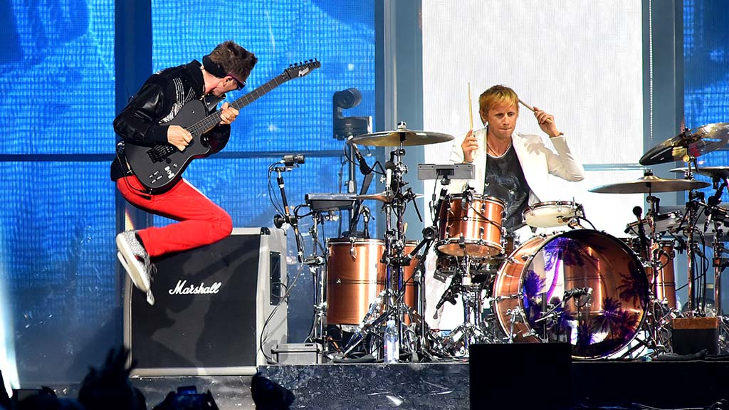 Matt Bellamy (left) and drummer Dominic Howard of Muse perform at KAABOO Del Mar.