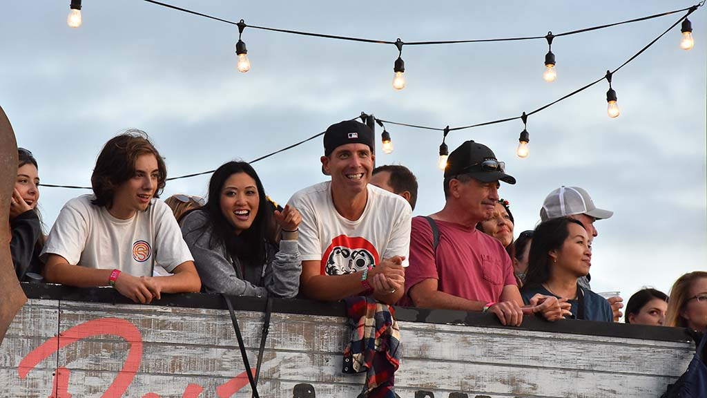 Fans enjoy the view of the Sunset Cliffs stage from atop the Dark Horse Bar.