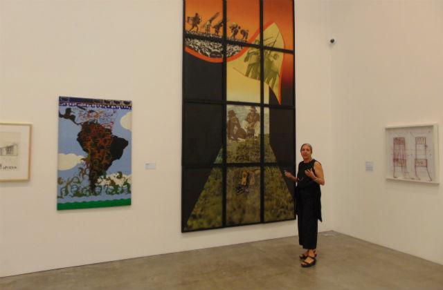 Julieta Gonzales with artwork