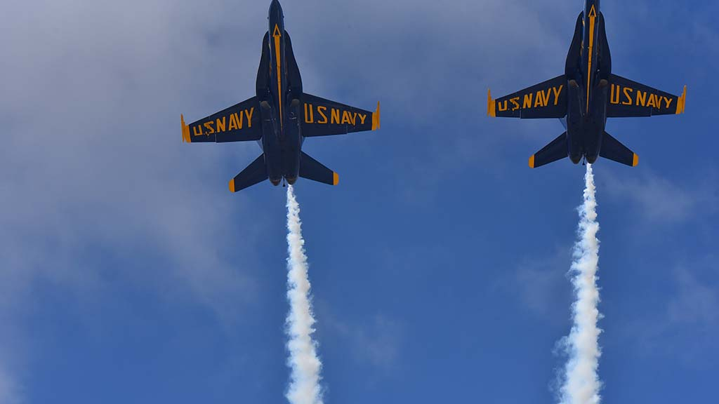 Navy Blue Angel pilots perform at the 2017 Miramar Air Show.