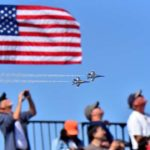 U.S. Navy Blue Angels fly above the crowd at the 2017 Miramar Air Show.