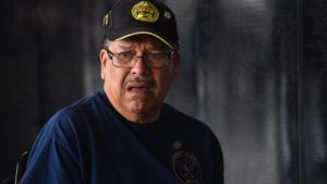 Michael Munoz, who served in the Vietnam War in 1969, sheds a tear for a fallen buddy.