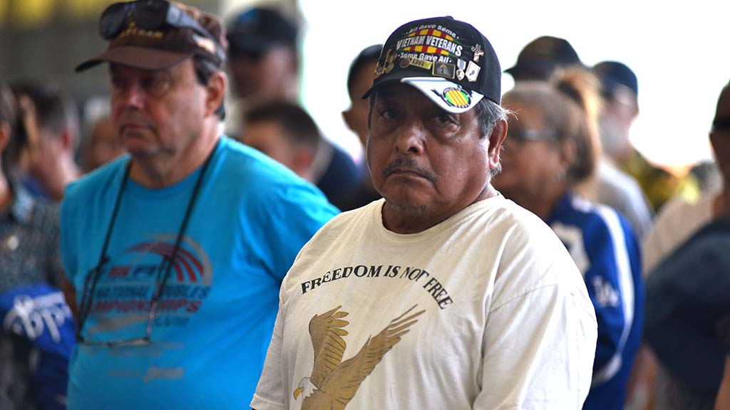 Vietnam War veterans attended a ceremony for veterans at the Miramar Air Show.