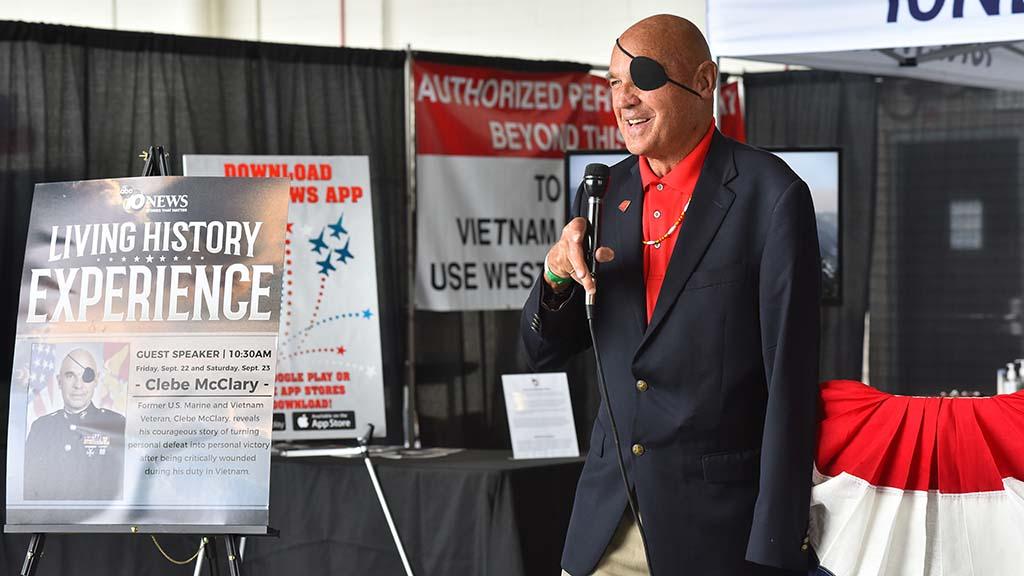 Clebe McClary, a Vietnam War veteran speaks to other veterans.