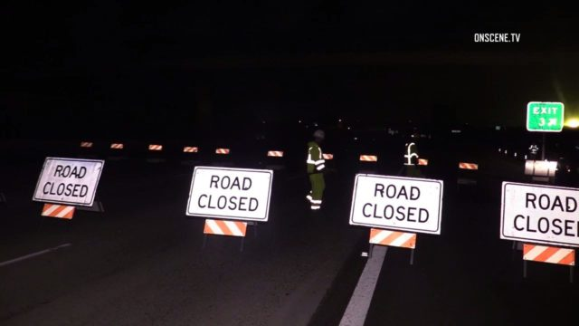 Road closed signs on Southbound Interstate 5 at San Ysidro