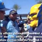 "Image from video of Dan Jauregui as ""Boltman"" and his interaction with StubHub security at Sept. 24, 2017, Chargers-Chiefs game."
