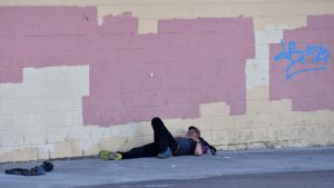 Some homeless sleep on the sidewalks during the day.