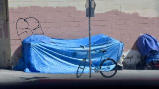 Temporary homeless shelters in downtown San Diego