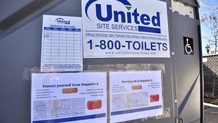 New portable toilets have been set up around downtown San Diego.