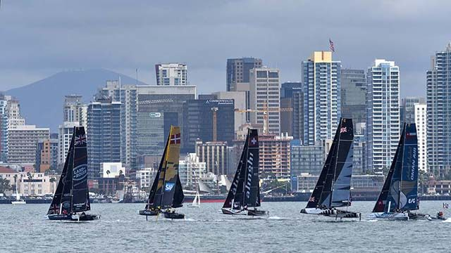 Five of the eight racing boats turn in San Diego Harbor