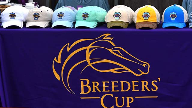 Breeders Cup merchandise is prepared for the upcoming races this weekend.