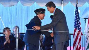"Sen. Joe Manchin of West Virginia honored Hershel ""Woody"" Williams."
