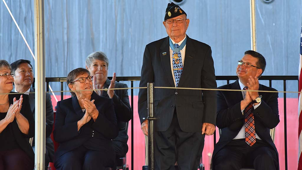 "Medal of Honor recipient Hershel ""Woody"" Williams was honored with a ship named after him."