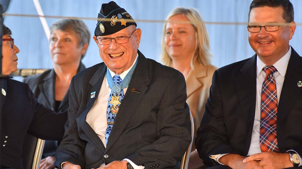 "Medal of Honor recipient Hershel ""Woody"" Williams was honored"