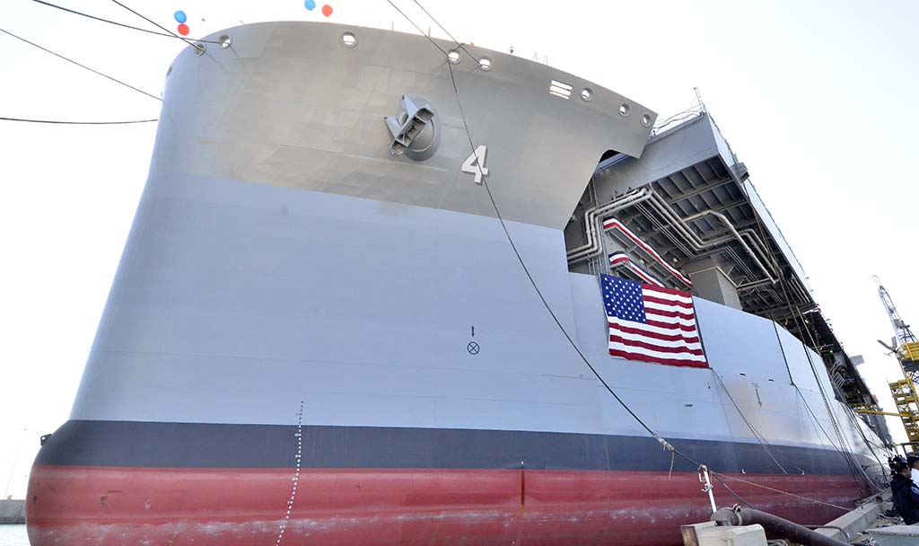 "The Navy's newest Expeditionary Sea Base was christened and named the USNS Hershel ""Woody"" Williams"
