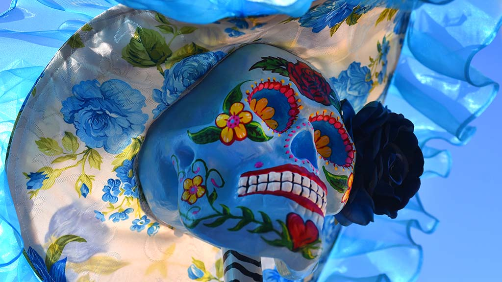 Decorated skulls adorn Old Town for Dia de los Muertos.