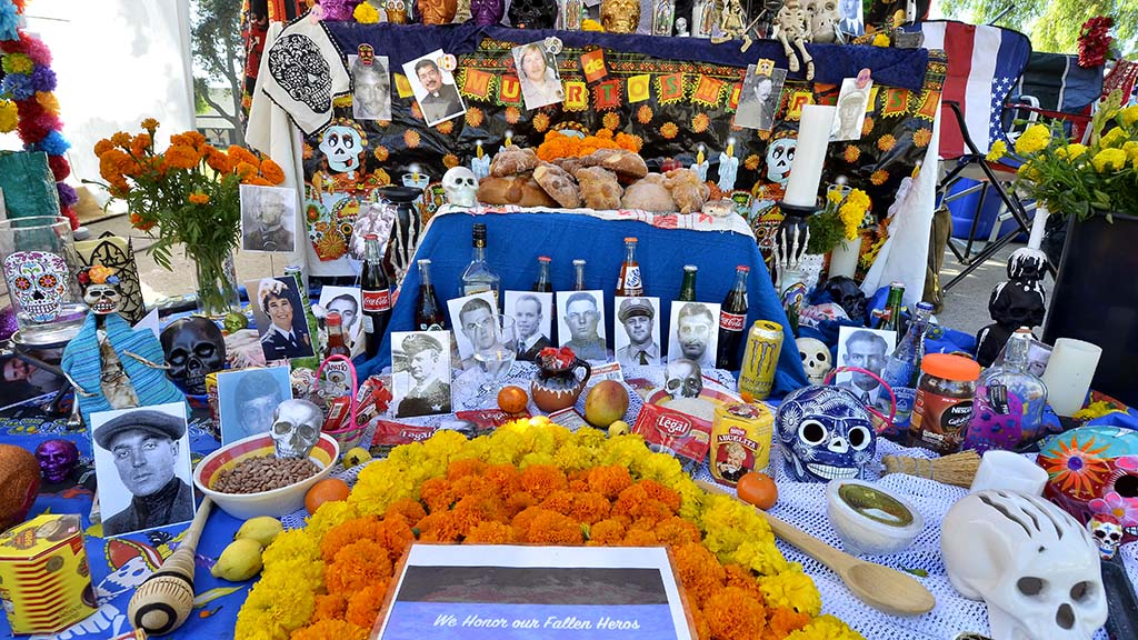 An altar is set up to honor fallen police officers.