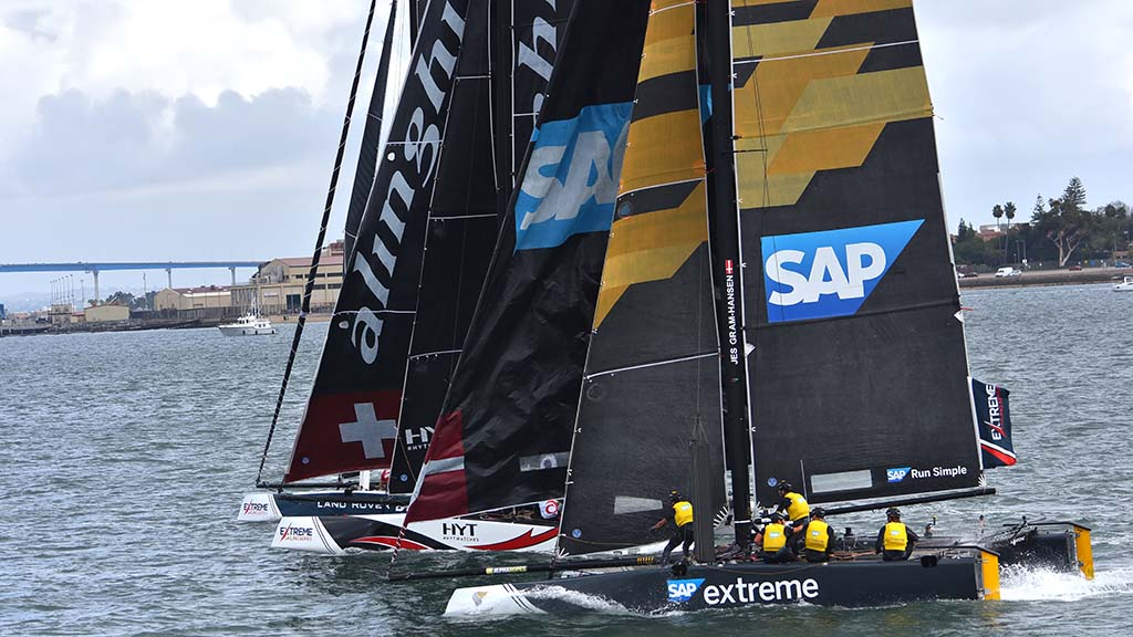 Teams representing Switzerland, Denmark and Great Britain sail on San Diego Harbor