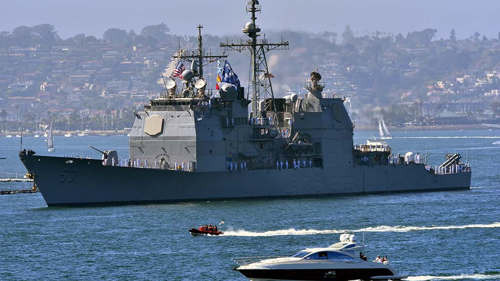 USS Mobile Bay, a Ticonderoga class guided-missile cruiser participated in the San Diego Fleet Week Sea & Air Parade.
