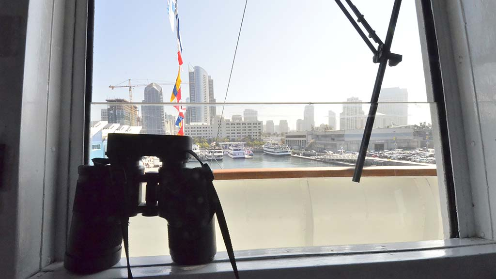 Downtown San Diego can be seen from the bridge of an Coast Guard ship.