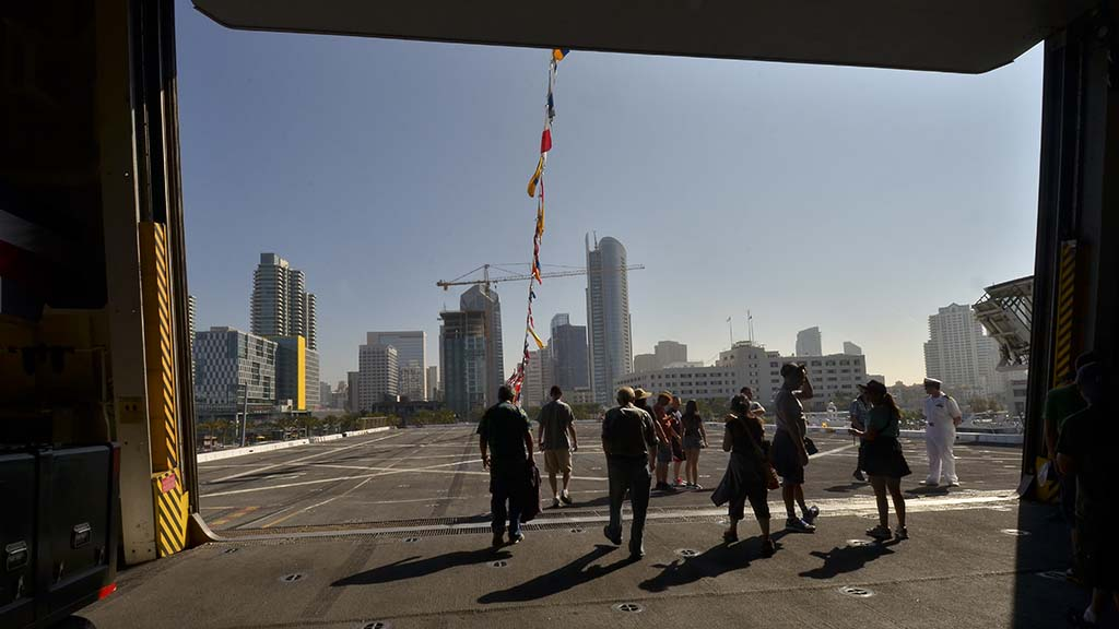 Visitors tour the USS Anchorage during Fleet Week in San Diego.