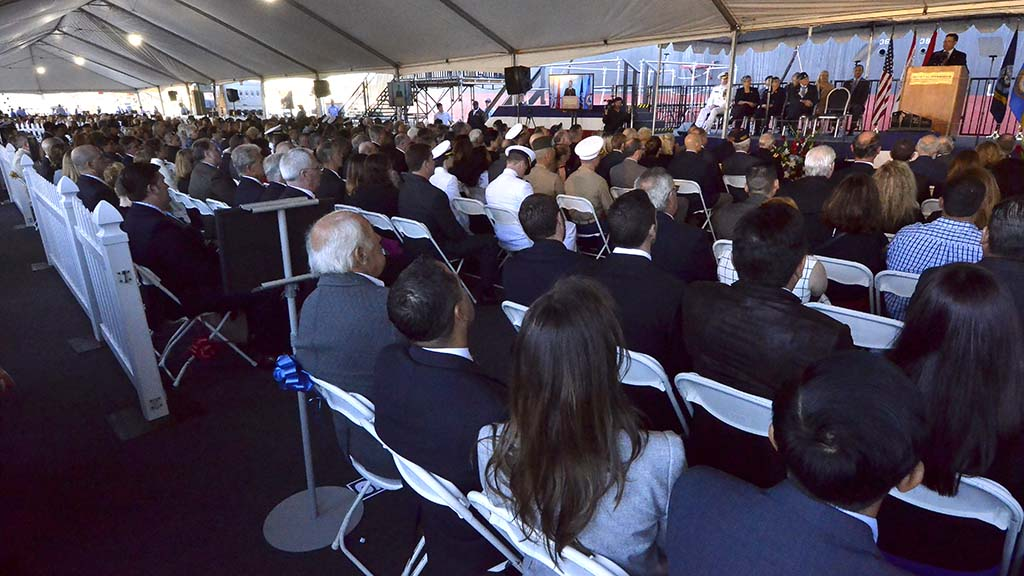 "Hundreds of people attended the christening of the USS Hershel ""Woody"" Williams at NASSCO."