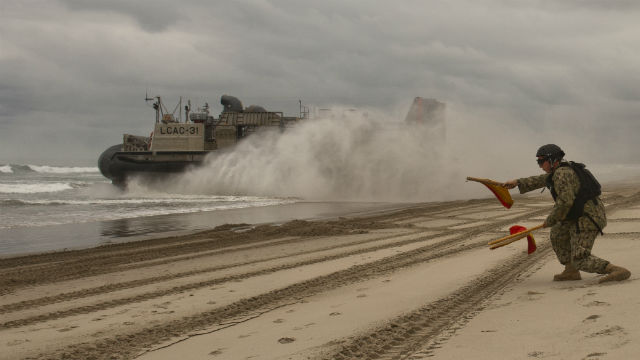 Landing craft air cushion comes ashore