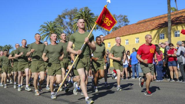 Marines training at Recruit Depot San Diego