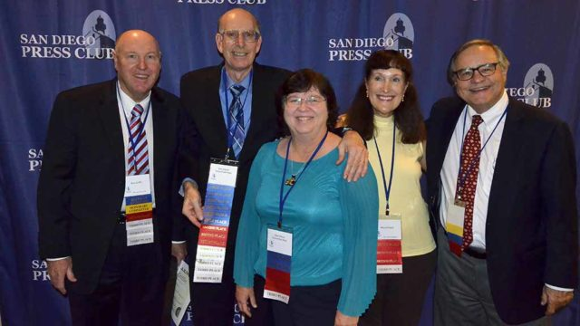 Times of San Diego award winners at San Diego Press Club's Excellence in Journalism Awards include (from left) MarketInk columnist Rick Griffin, contributing editor Ken Stone, contributing photographer Chris Stone, contributor Mimi Pollack and website editor and publisher Chris Jennewein.
