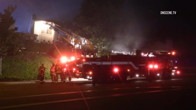 Firefighters at the blaze in Rancho Bernardo